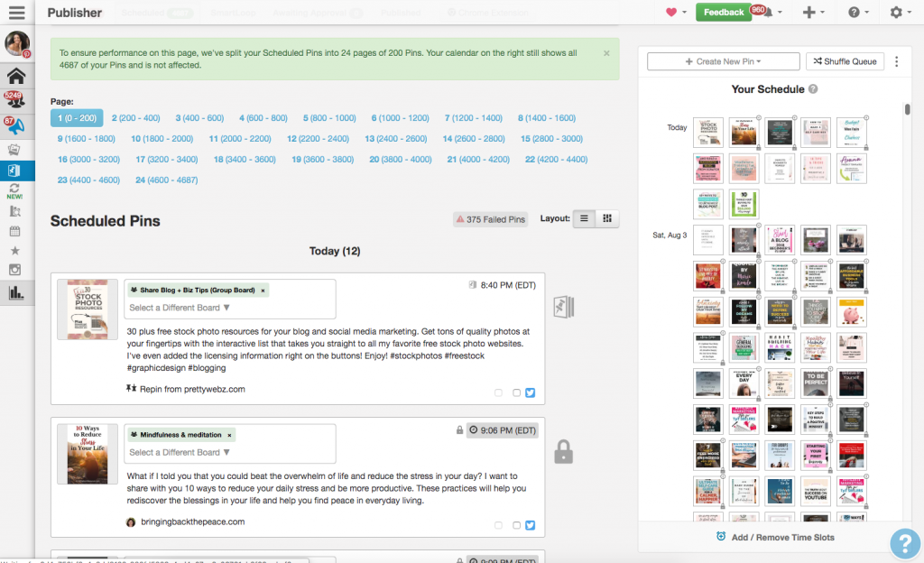 Screen shot of Tailwind - one of the reasons bloggers need Pinterest
