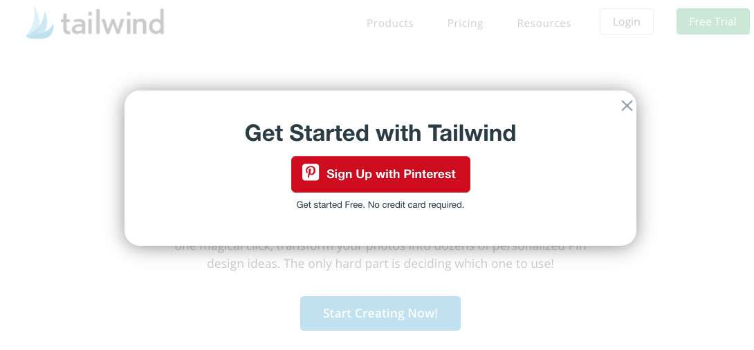 Get start with Tailwind, just sign up with Pinterest. Screen shot from Tailwind website.