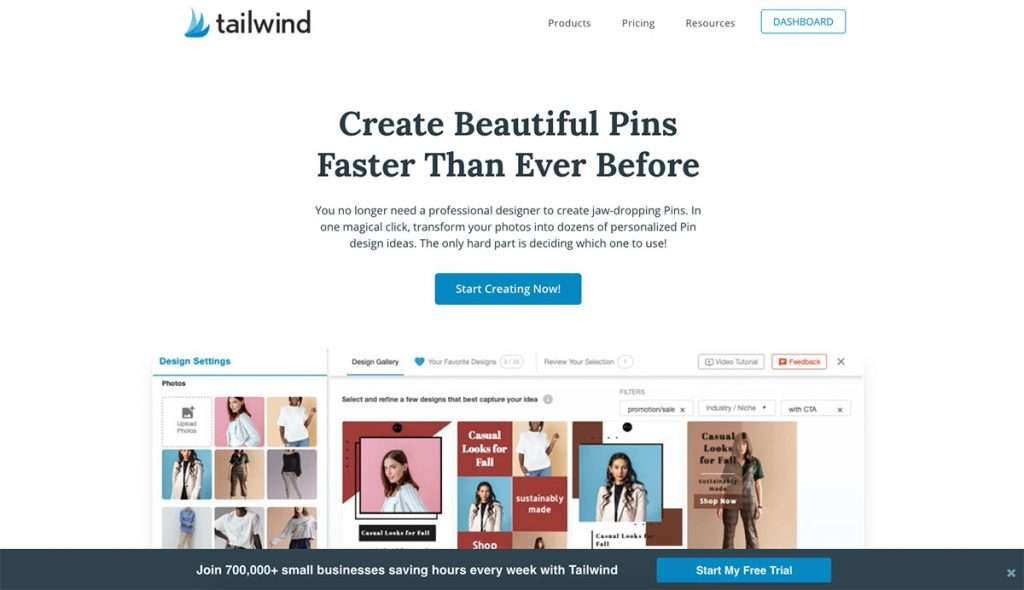 Tailwind Create website where you can sign up for a free t