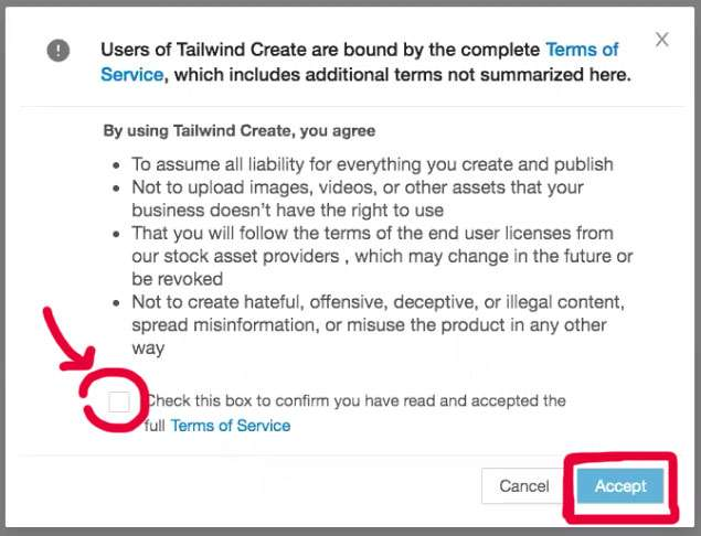 Accepting the terms of use for Tailwind Create