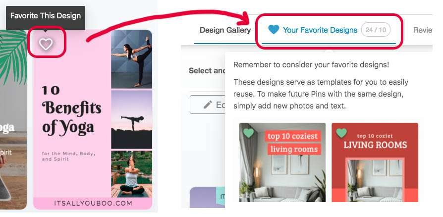 How to favorite a design in Tailwind create and where to access your favorite designs.