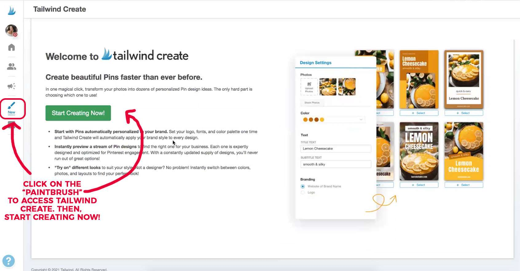 The welcome screen to access Tailwind Create Pin Designer.