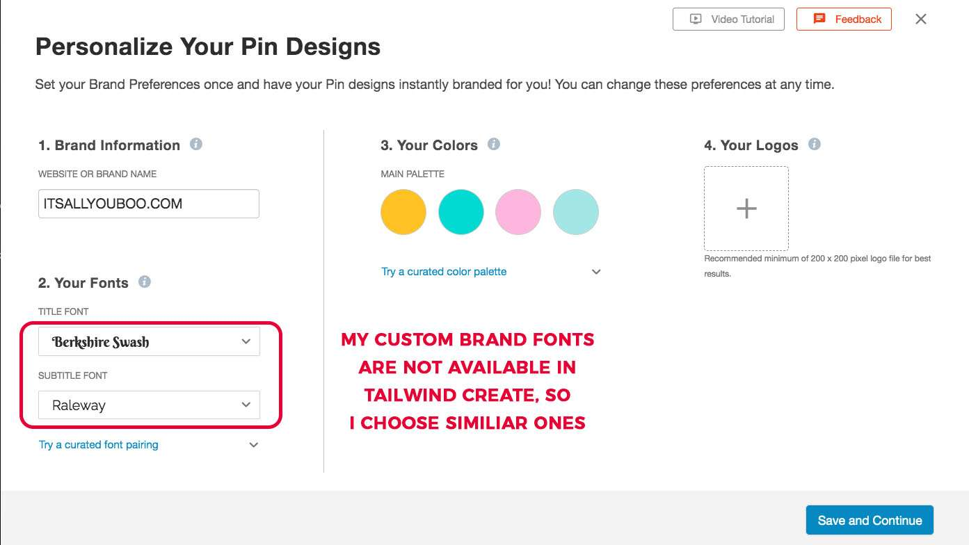 A look at my pin design personalizations for my blog in Tailwind Create. I could not find my brand fonts, so i choose similar ones.
