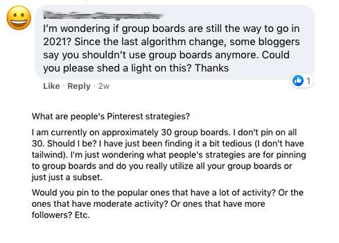 """A screen shot of common questions like, """"wondering if group boards are still the way to go in 2021""""being asked in Facebook groups."""