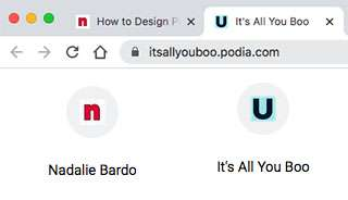 Sample favicon that can be used to as logos to personalize pins Tailwind Create.