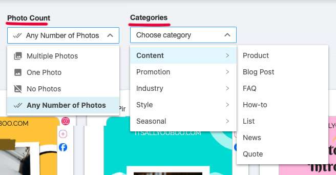 select photo count or categories for social media graphic templates